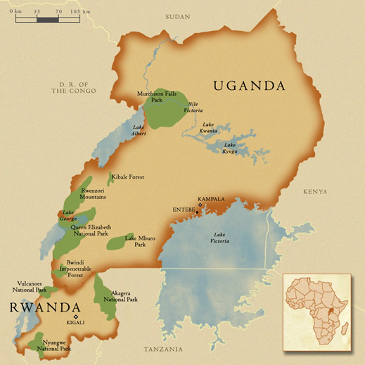 uganda rwanda national parks map